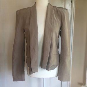 Grey silk open front blazer